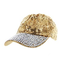 Sequin Fashion Baseball Cap With Full Stoned Bill