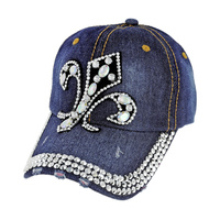 Stone And Gem Studded Fluer De Lis Patch On Distressed Denim Fashion Baseball Cap