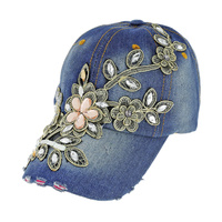 Gem And Embroidered Floral Patch On Distressed Denim Fashion Baseball Cap