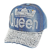 Htc609Lt Queen With Crown With Stones Denim Baseball Cap