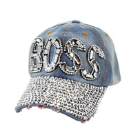 """BOSS"" Patch with Full Stoned Bill on Distressed Denim Fashion Baseball Cap"