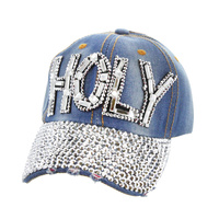 Holy Patch With Full Stoned Bill On Distressed Denim Religious Baseball Cap