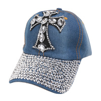 Studded Cross Patch On Distressed Denim Religious Baseball Cap