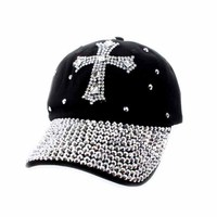 BLACK FASHIONABLE FULLY STONED BILL BASEBALL CAP WITH CROSS