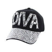 Diva With Gems And Full Stone Bill On Distressed Denim Fashion Baseball Cap Htc652Bk