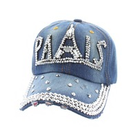Paris And Eiffel Tower In Gems With Stones On Distressed Denim Fashion Baseball Cap