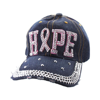Hope With Pink Ribbon Studded In Stones On Black Denim Fashion Baseball Cap Htc664Dk