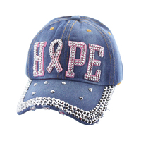 Hope With Pink Ribbon Studded In Stones On Black Denim Fashion Baseball Cap Htc664Dn