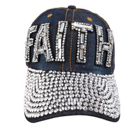 Faith Patch With Full Stoned Bill On Distressed Denim Fashion Baseball Cap