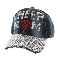 Cheer Mom In Stones On Distressed Denim Fashion Baseball Cap