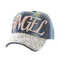 Pink Angel With Stones On Distress Denim Fashion Baseball Cap