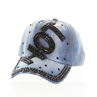 Black Hot With Black Stones On Distress Denim Fashion Baseball Cap Htc718