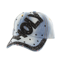 Black Holy With Black Stones On Distress Denim Fashion Baseball Cap Htc719