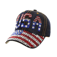 Patriotic USA American Flag on Distress Denim Fashion Baseball Cap
