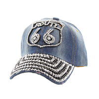 Route 66 With Stones On Distress Denim Fashion Baseball Cap