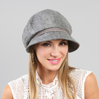 LACE BILL W/ STONE BUTTON NEWSBOY CAP