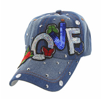 LOVE DENIM CAP WITH BUTTERFLIES