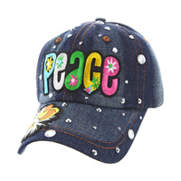 GROOVY PEACE DENIM CAP WITH STUDS