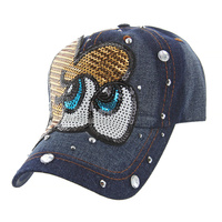 LOOKING AT ME DENIM CAP WITH STUDS