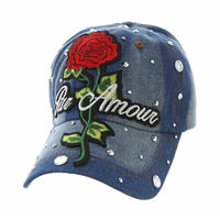 POR AMOUR DENIM CAP WITH STUDS