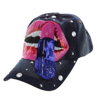 LIPS ARE POPPIN DENIM CAP WITH STUDS