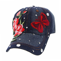 ROSE WITH BUTTERFLIES DENIM CAP WITH STUDS