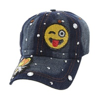 WINKING EYE EMOJI DENIM CAP WITH STUDS