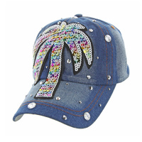 MULTICOLOR PALM TREE DENIM CAP WITH STUDS