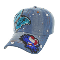 FLYING BUTTERFLY DENIM CAP WITH STUDS