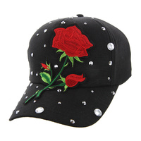 SINGLE ROSE ON BLACK CAP WITH STUDS