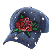 GLITTERY ROSE PATCH DENIM CAP W/ STONES