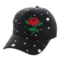 MINI RED ROSE BLACK CAP WITH STUDS