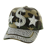 GREEN ARMY DOLLAR SIGNS CAP WITH STUDS ON VISOR