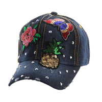 ROSE BUTTERFLY PINEAPPLE DENIM CAP