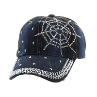 SPIDERWEB STONE DENIM CAP