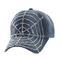 LARGE SPIDERWEB STONE DENIM CAP