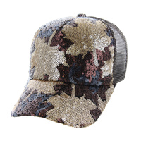 MAPLE LEAF SEQUIN BLUE CASUAL CAP