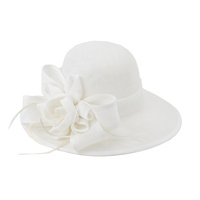 WOVEN ROSE BOW FLAX FABRIC TEA HAT
