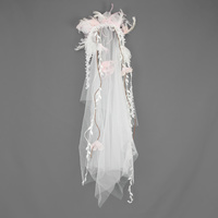 BRIDAL HAIR VEIL W/ FLORALS & FEATHER JEWELS