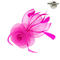 FUCHSIA POPULAR DRESSY FASCINATOR WITH FLORAL CENTER