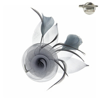 Mesh Flower and Leaves with Feathers Pin Brooch and Hair Clip Fascinator
