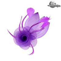 PURPLE POPULAR DRESSY FASCINATOR WITH FLORAL CENTER