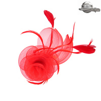 RED POPULAR DRESSY FASCINATOR WITH FLORAL CENTER