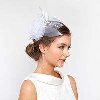 WHITE POPULAR DRESSY FASCINATOR WITH FLORAL CENTER