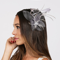 GREY FASHIONABLE FACSINATOR WITH FLOWER AND FEATHERS
