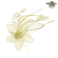IVORY POPULAR DRESSY FASCINATOR WITH FLORAL CENTER