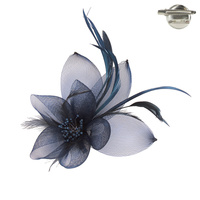 NAVY POPULAR DRESSY FASCINATOR WITH FLORAL CENTER