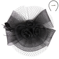 BLACK FASHIONABLE CHURCH FASCINATOR WITH FLORAL CENTER