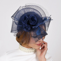 NAVY FASHIONABLE CHURCH FASCINATOR WITH FLORAL CENTER