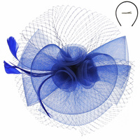 RND MESH FLOWER W/FEATHER AND NETTING HEADBAND